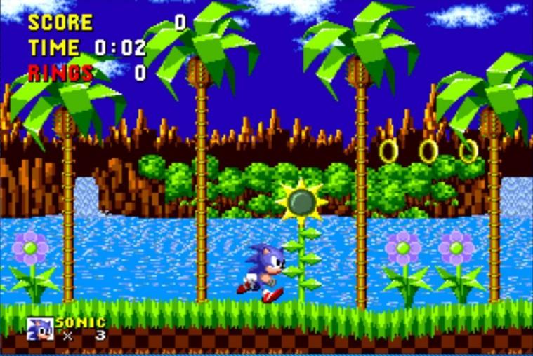 Skærmbillede fra 'Sonic the Hedgehog', 1991