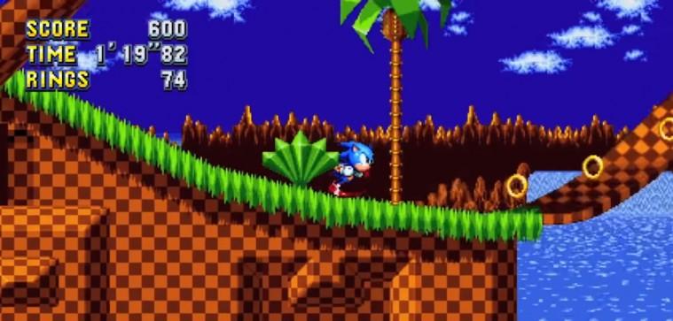 Et billede taget fra 'Sonic Mania'-traileren, der viser det nye gameplay.