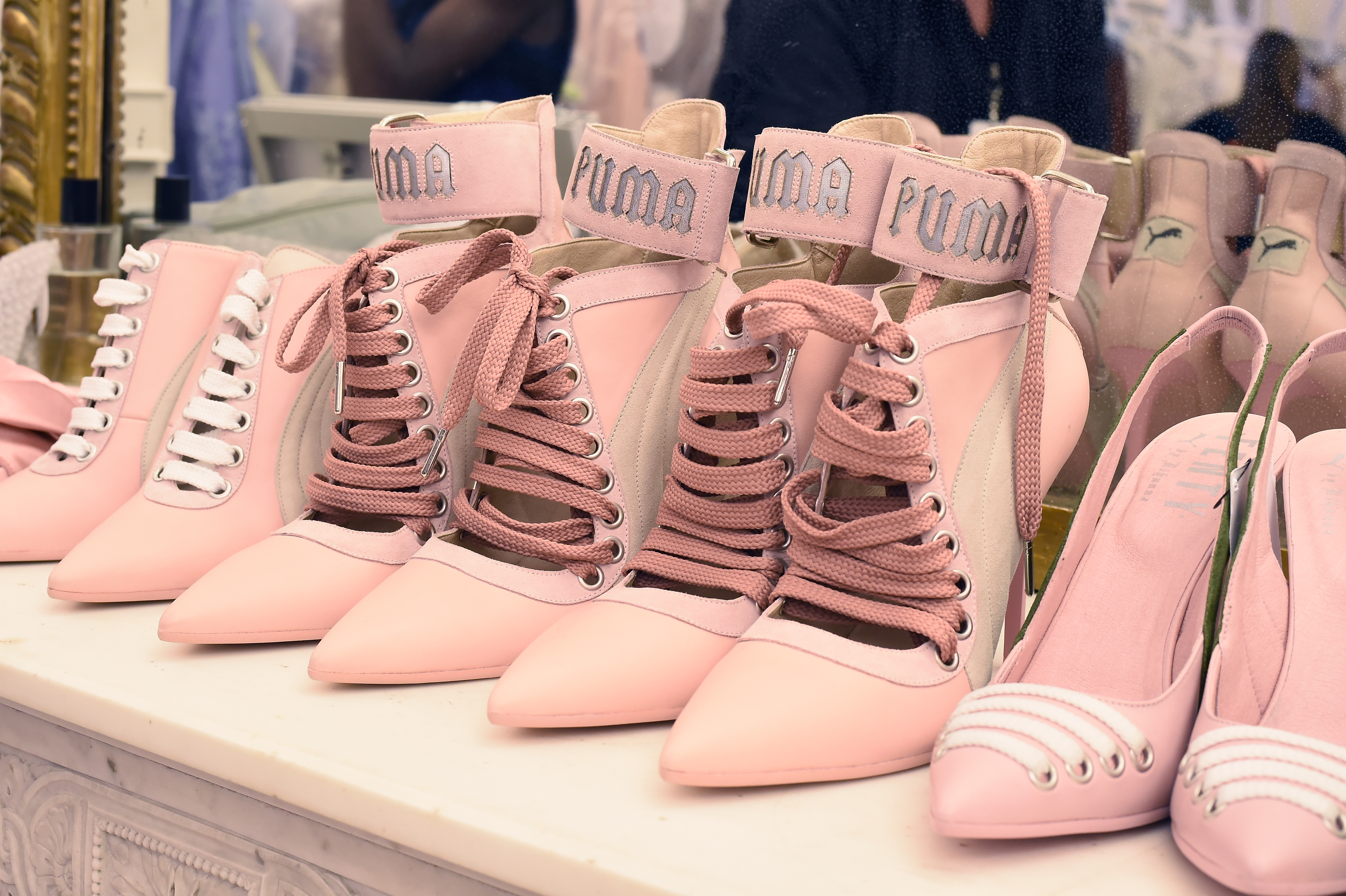 PARIS, FRANCE - SEPTEMBER 28: Model's shoes are seen backstage during FENTY x PUMA by Rihanna at Hotel Salomon de Rothschild on September 28, 2016 in Paris, France. (Photo by Victor Boyko/Getty Images for Fenty x Puma)