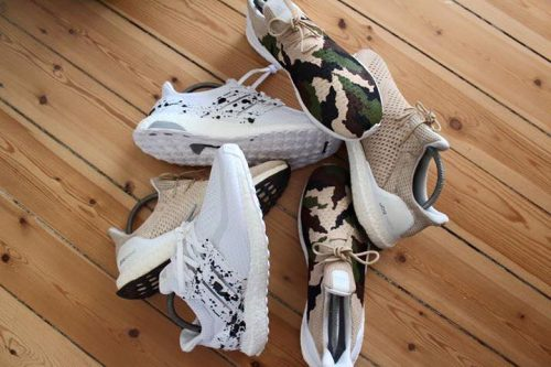 Nogle af Juns customized Adidas Ultra Boosts