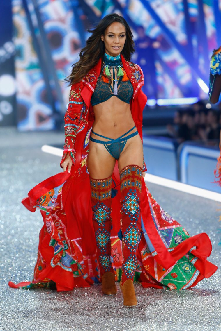 PARIS, FRANCE - NOVEMBER 30: Joan Smalls walks on the runway with Swarovski crystals during Victoria's Secret Fashion Show on November 30, 2016 in Paris, France. (Photo by Julien M. Hekimian/Getty Images for Swarovski)