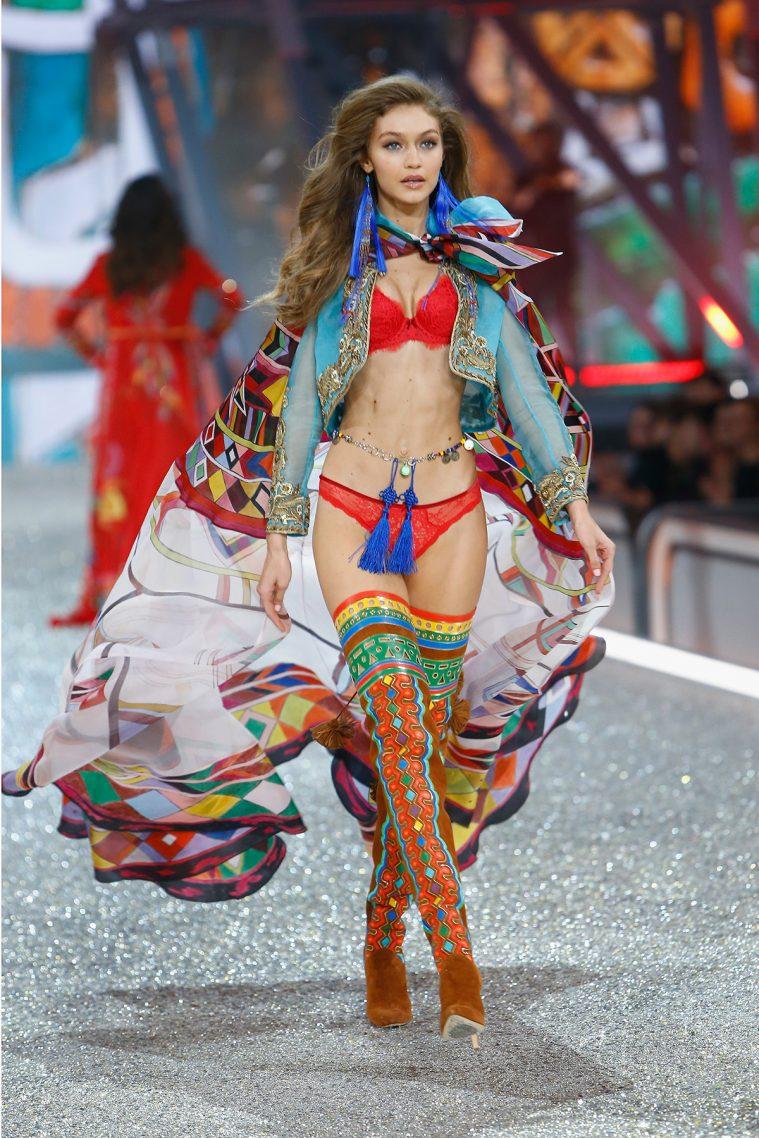 PARIS, FRANCE - NOVEMBER 30: Gigi Hadid walks the runway with Swarovski crystals during Victoria's Secret Fashion Show on November 30, 2016 in Paris, France. (Photo by Julien M. Hekimian/Getty Images for Swarovski)
