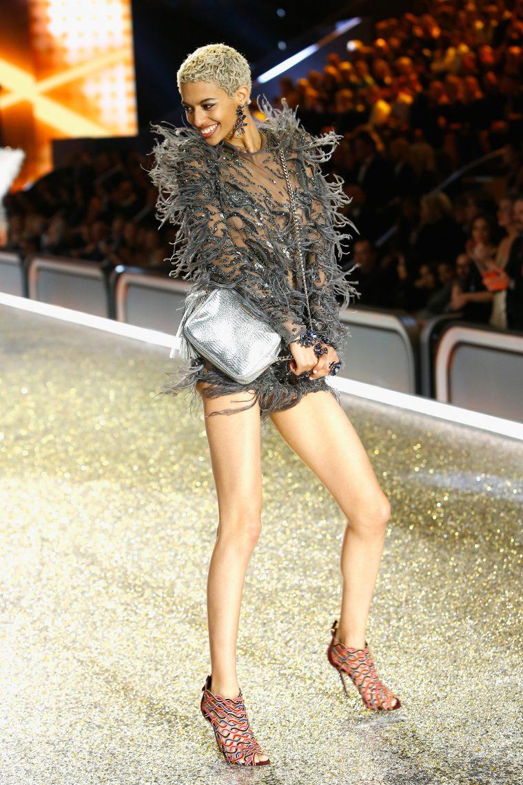PARIS, FRANCE - NOVEMBER 30: Jourdana Phillips walks the runway with Swarovski crystals during Victoria's Secret Fashion Show on November 30, 2016 in Paris, France. (Photo by Julien M. Hekimian/Getty Images for Swarovski)