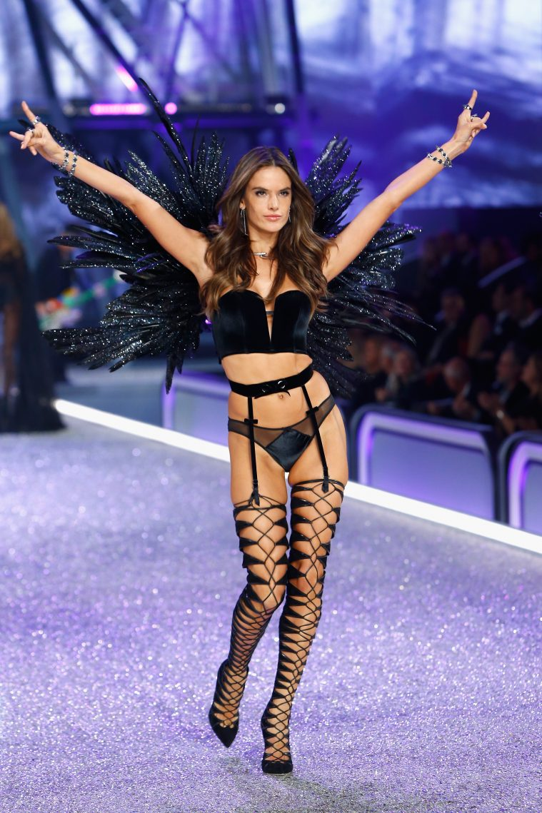 PARIS, FRANCE - NOVEMBER 30: Alessandra Ambrosio walks the runway with Swarovski crystals during Victoria's Secret Fashion Show on November 30, 2016 in Paris, France. (Photo by Julien M. Hekimian/Getty Images for Swarovski)