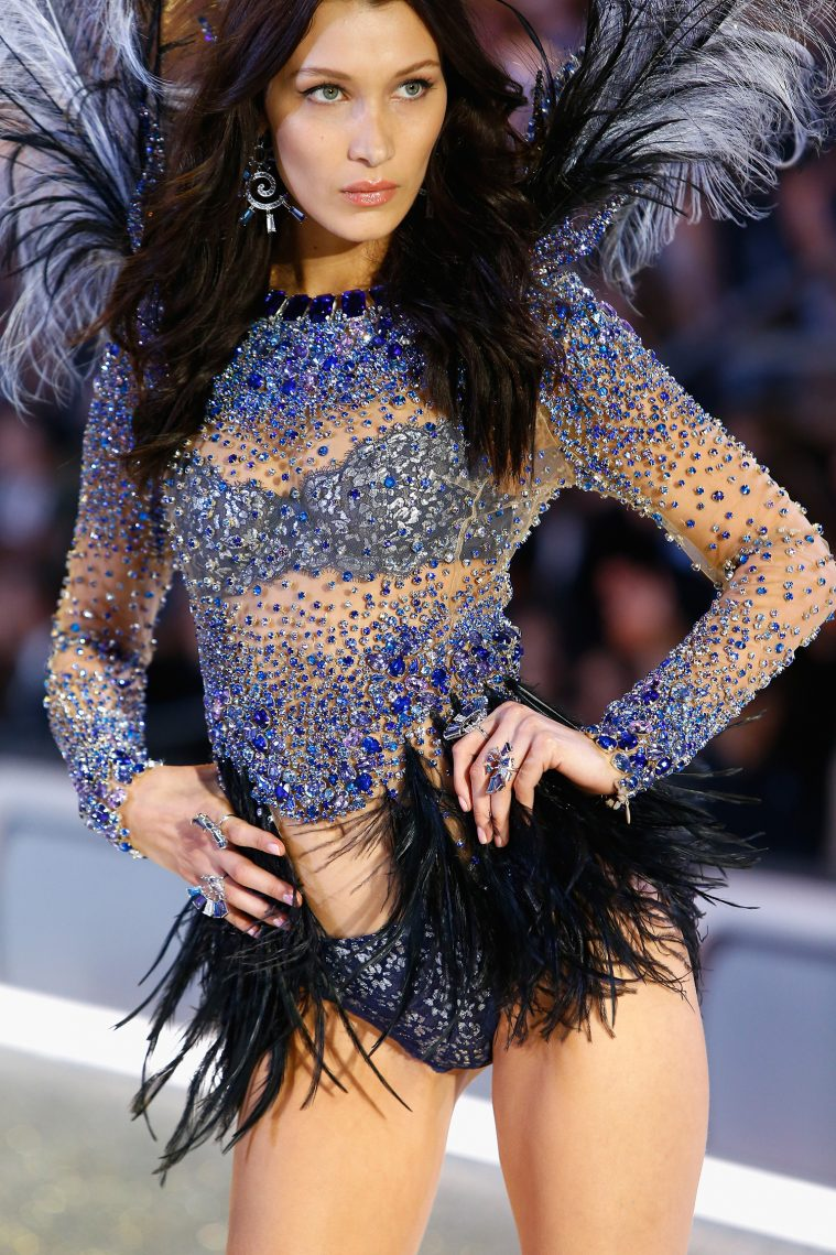 PARIS, FRANCE - NOVEMBER 30: Bella Hadid walks the runway with Swarovski crystals during Victoria's Secret Fashion Show on November 30, 2016 in Paris, France. (Photo by Julien M. Hekimian/Getty Images for Swarovski)