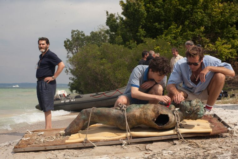 Michael Stuhlbarg, Timothée Chalamet and Armie Hammer appear in Call Me by Your Name by Luca Guadagnino, an official selection of the Premieres program at the 2017 Sundance Film Festival. Courtesy of Sundance Institute.
