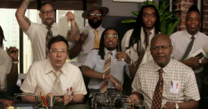 Se Fallon, Migos og The Roots spille 'Bad and Boujee' på kontorartikler