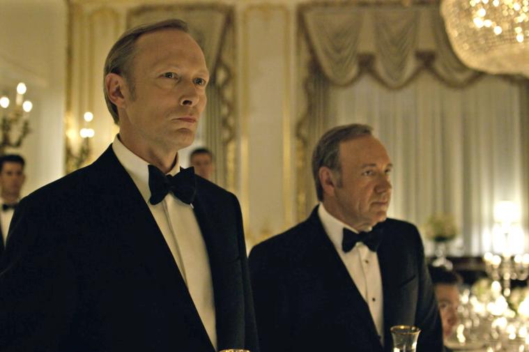 Lars Mikkelsen som den russiske præsident Petrov, og Kevin Spacey som Præsident Frank Underwood i 'House of Cards' fjerde sæson.