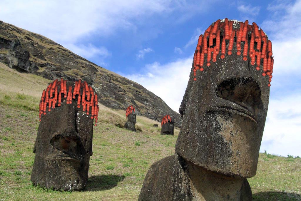 9. Hvis hårpragt pryder her ansigterne på Påskeøerne?